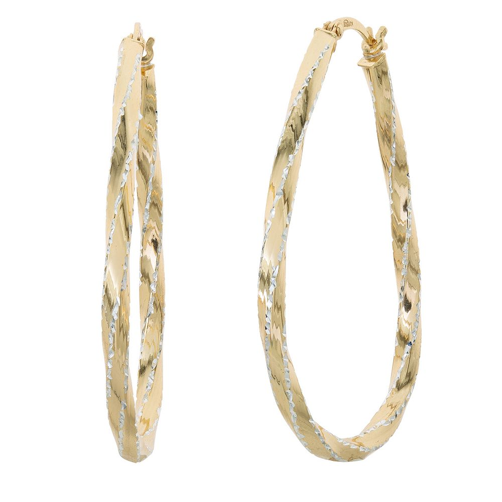 Silver Classics Two Tone Sterling Silver Textured Stripe Hoop Earrings