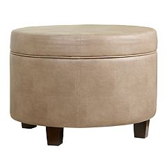 HomePop Round Faux Leather Storage Ottoman