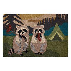 Liora Manne Frontporch Camping Raccoons Indoor Outdoor Rug