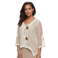Women's Nina Leonard Sheer Handkerchief Cardigan