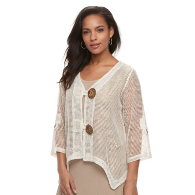 Women's Nina Leonard Novelty Coconut button Cardigan