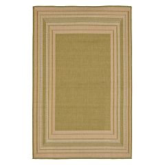 Liora Manne Terrace Etched Striped Border Indoor Outdoor Rug