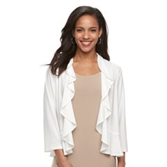 Women's Nina Leonard Ruffle Mixed-Media Cardigan