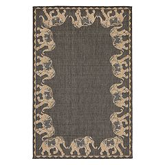 Liora Manne Terrace Marching Elephants Border Indoor Outdoor Rug