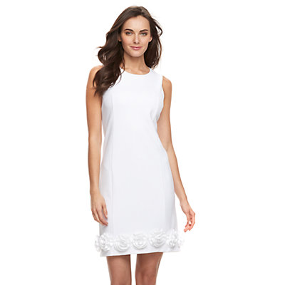 Women's Nina Leonard Rose Applique Shift Dress