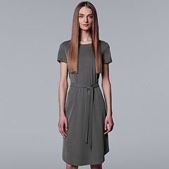 Petite Simply Vera Vera Wang Ribbed Round Hem Dress