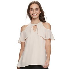 Juniors' Candie's® Cold-Shoulder Halter Tee
