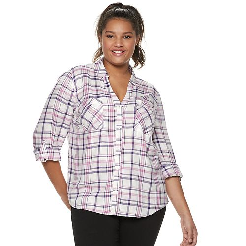 Juniors' Plus Size Candie's® Piped Roll-Tab Blouse