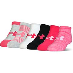 Girls 4-16 Under Armour 6 pkEssentail No-Show Pink, Black & White Socks