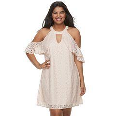 Juniors' Plus Size Candie's® Halter Cold-Shoulder Dress