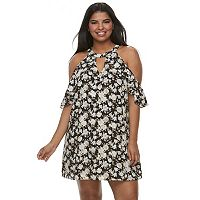 Juniors' Plus Size Candie's® Halter Cold-Shoulder Dress