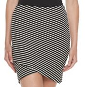 Juniors' SO® Striped Cross Front Skirt