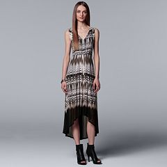 Petite Simply Vera Vera Wang Pleated High-Low Maxi Dress