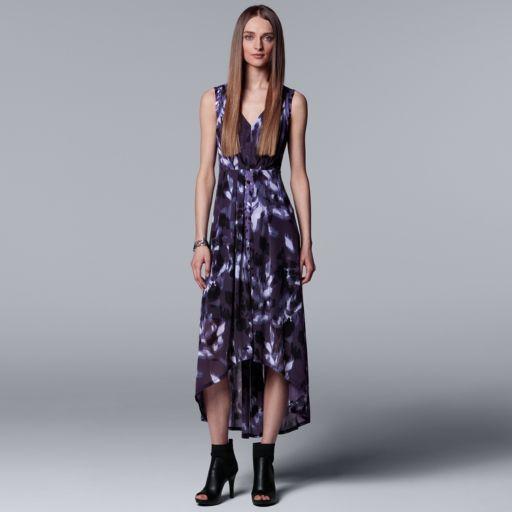 Petite Simply Vera Vera Wang Pleated High-Low Maxi Dress