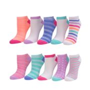 Girls 7-16 SO® 10-pack No-Show Striped Socks