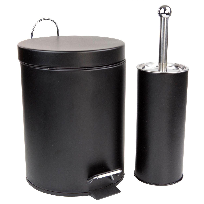 Home Basics 2 Piece Toilet Brush U0026 Wastebasket Set