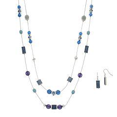 Blue Beaded Multistrand Long Necklace & Drop Nickel Free Earrings Set