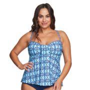 Plus Size Mazu Swim Empire Draped Tankini Top