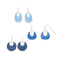 Oval & Circle Drop Nickel Free Earring Set
