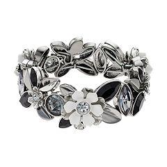 Simply Vera Vera Wang Black & White Flower Stretch Bracelet