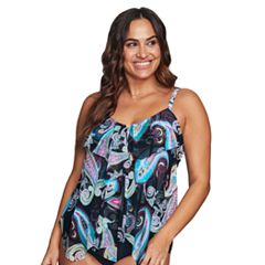 Plus Size Mazu Swim D-Cup Tiered Tankini Top