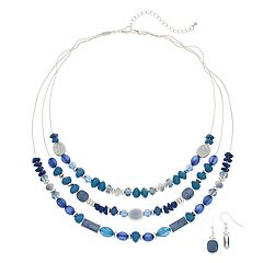 Blue Beaded Multiatrand Necklace & Drop Nickel Free Earring Set