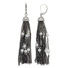 Simply Vera Vera Wang Simulated Pearl Nickel Free Tassel Drop Earrings