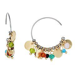 Simply Vera Very Wang Gold Tone Disc & Multi Colored Bead Detail Hoop Earrings