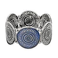 Silver Tone Medallion Stretch Bracelet