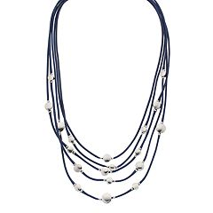 Layered Blue Cord Necklace