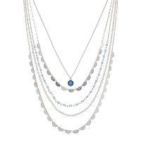 Layered Blue Pendant Necklace