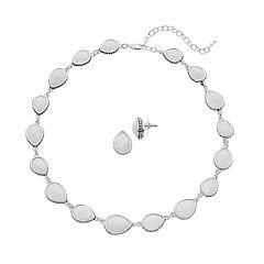 Napier Teardrop Collar Necklace & Stud Earring Set