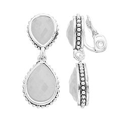 Napier Double Drop Clip-On Earrings