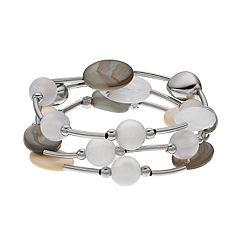 Shell Composite & Bead Multi Strand Stretch Bracelet