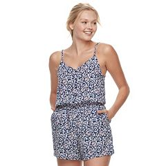 Juniors' SO® Challis Button-Front Romper