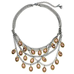 Simply Vera Vera Wang Oval Charm Crisscross Statement Necklace