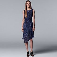 Petite Simply Vera Vera Wang Print Asymmetrical Midi Dress