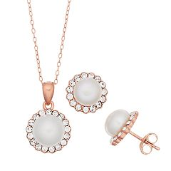 Sterling silver Pearl Halo Earring & Pendant Necklace Set