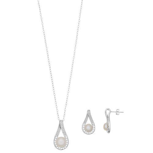 Sterling Silver Pearl Teardrop Earring & Pendant Necklace Set