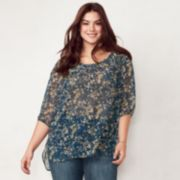 Plus Size LC Lauren Conrad Printed Chiffon Peasant Top