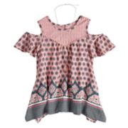 Girls 7-16 Self Esteem Cold Shoulder Patterned Top with Necklace