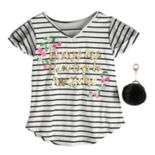 Girls 7-16 Self Esteem Striped Top with Pom Keychain