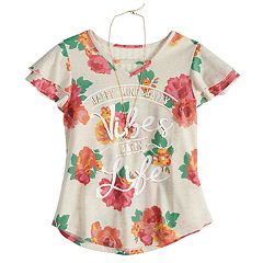 Girls 7-16 Self Esteem Floral Graphic Tee with Necklace