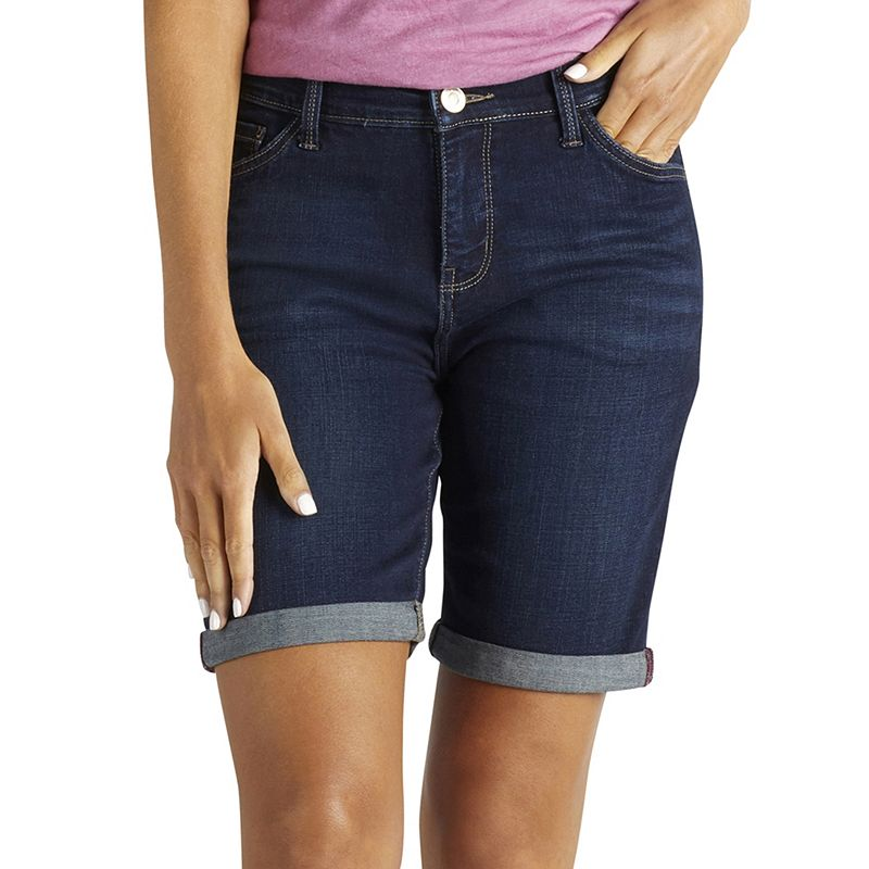 Women's Lee Kiki Roll-Cuff Bermuda Jean Shorts, Size: 4 - regular, Dark Blue