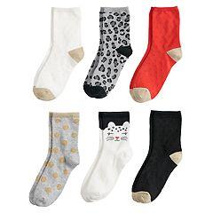 Girls 4-8 Carter's 6-pack Cat Crew Socks