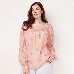 Plus Size LC Lauren Conrad Love, Lauren Shirred Peasant Top
