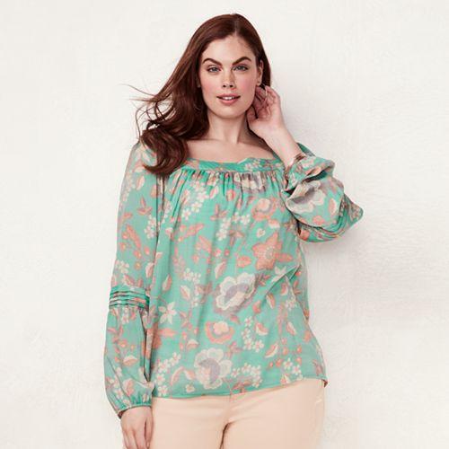 Plus Size LC Lauren Conrad Love, Lauren Shirred Peasant Top