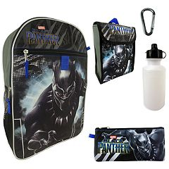 Kids Marvel Black Panther Backpack, Lunchbox, Pencil Case, Water Bottle & Carabiner Set