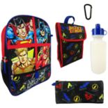 Kids DC Comics Justice League Superman, Batman, Aquaman & The Flash Backpack, Lunchbox, Pencil Case, Water Bottle & Carabiner Set