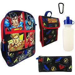 Kids DC Comics Justice League Superman, Batman, Aquaman & The Flash Backpack, Lunchbox, Pencil Case, Water Bottle & Carabiner Set